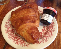 Croissant with blueberry jam